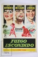 1957 Cinema/ Movie Advertising Leaflet - Fire Down Below - Rita Hayworth,  Robert Mitchum,  Jack Lemmon - Cinema Advertisement