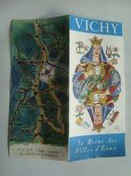 VICHY, LA REINE DES VILLES D'EAUX - FRANCE, ALLIER, AUVERGNE, 1955 APROX. ILLUSTRATIONS BY HERVÉ BAILLE. - Folletos Turísticos