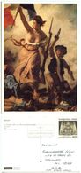 France 1992 Postcard Art Paining By Delacroix, Paris To U.S., Scott 2252 - Paintings