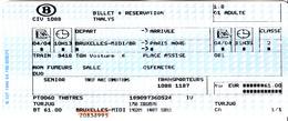 TICKET THALIS SNCB  BRUXELLES MIDI - PARIS NORD - Chemins De Fer