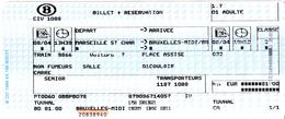 TICKET  SNCB  MARSEILLE ST CHARLES -BRUXELLES MIDI - Chemins De Fer