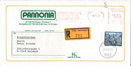 Austria Underpaid Registered Cover With Meter Cancel And A Stamp Pamhagen 16-10-1989 (Pannonia) - 1945-.... 2ème République