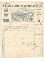 F93 - Fonderie De Laiton V.Glutz-Blotzheim Successeurs SA Soleure Facture 1913 - Suisse