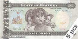 TWN - ERITREA 2 - 5 Nakfa 24.5.1997 DEALERS LOT X 5 - Prefix AD UNC - Erythrée