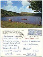 Ireland 1964 Postcard Lough Dan, C. Wicklow, Dún Laoghaire To Neuilly France, Scott 111 Pair - Wicklow