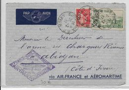 """1937 - ENVELOPPE Par AVION """"1° VOL FRANCE => COTE OCCIDENTALE D'AFRIQUE Par AIR FRANCE AEROMARITIME"""" => COTE D'IVOIRE - Premiers Vols"""