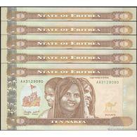 TWN - ERITREA 11 - 10 Nakfa 24.5.2012 DEALERS LOT X 5 - Prefix AA UNC - Eritrea