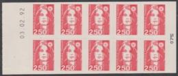Année 1991 - N° 2720-C1 - T-P N° 2720 X 10 - Marianne De Briat - Non Dentelé Adhésif 2 Fr. 50 Rouge - J.O. Albertville - Uso Corrente