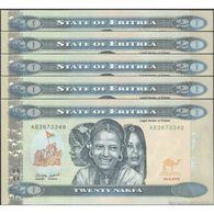 TWN - ERITREA 12 - 20 Nakfa 24.5.2012 DEALERS LOT X 5 - Prefix AB UNC - Erythrée