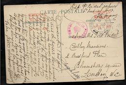Guerre 14 18 CAD ARMY POST OFFICE N° 50 + Censure Rouge PASSED BY CENSOR N° 194 Au Départ De La Sarthe Pour Londres  ..G - WW I
