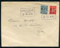 """Enveloppe Avec Timbres , Surcharge De Lyon + Cachet """" Lyon Libéré """" En 1944 - Ref F226 - Poststempel (Briefe)"""