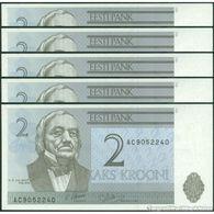 TWN - ESTONIA 70a - 2 Krooni 1992 DEALERS LOT X 5 - Prefix AC UNC - Estonia
