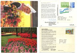 Netherlands 1980's 2 Advert Postcards For Tulips, Scott 658a Europa Coil On One Card - Periodo 1980 - ... (Beatrix)