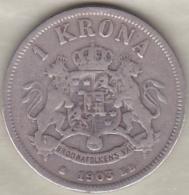 Sweden . 1 Krona 1903. Oscar II. Argent. KM# 760 - Suède