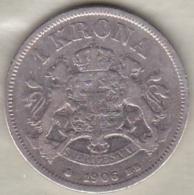 Sweden . 1 Krona 1906. Oscar II. Argent. KM# 772 - Suède