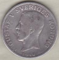 Sweden . 1 Krona 1918. Gustaf V. Argent. KM# 786.1 - Suède