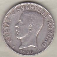 Sweden . 1 Krona 1936 . Gustaf V. Argent. KM# 786.2 - Suède