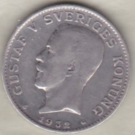 Sweden . 1 Krona 1932 . Gustaf V. Argent. KM# 786.2 - Suède