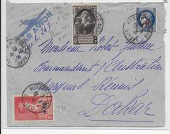 1941 - ENVELOPPE Par AVION De MARSEILLE GARE => DAKAR (SENEGAL) - PETAIN - 1927-1959 Lettres & Documents