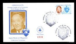 Premier Jour Georges Landry Et Le Centenaire De La Banque Des Iles 8 Nov 1989 Lot 87 - FDC