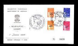 Premier Jour Marianne 7 Janv 1998 Timbres 663-664-665-666 Lot 94 - FDC