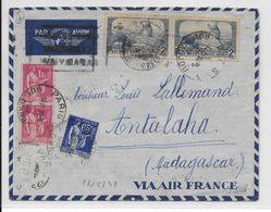 1938 - ENVELOPPE Par AVION De PARIS => ANTALAHA (MADAGASCAR) - - 1927-1959 Lettres & Documents