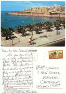 Malta 1985 Postcard Sliema - Beach, To Wincheap England, Scott 598 Farming - Malta