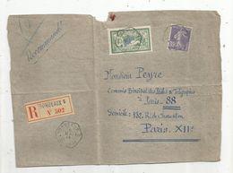 Partie De Lettre ,1914 , Recommandé BORDEAUX C N° 502 - Poststempel (Briefe)