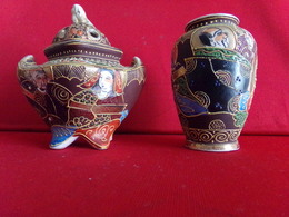 LOT DE 2 OBJETS ASIATIQUE EN SATSUMA    BRULE PARFUM ET VASE  HT 9,5CM - Asian Art