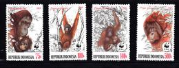 Indonesie 1989 Mi Nr 1291 - 1294, WWF, Orang-oetans,  Monkey,  Postfris - Indonesia