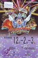 Carte Prépayée Japon * DISNEY (1749) FANTASMIC * TOKYO DISNEY SEA *  ADULT 1 DAY PASS * 650 YEN * JAPAN *MICKEY MOUSE - Disney