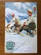 (sports D'hiver, Luge) Ernst PLATZ: Couple De Lugeurs, 1907, TBE. - Illustrateurs & Photographes