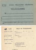 Enveloppe N°711 TELEGRAMME + FORMULE 708 REÇU DE TÉLÉGRAMME - Correo Postal