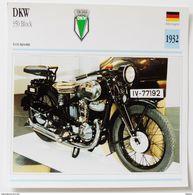 Fiche Technique MOTO Allemagne 1932 DKW 350 Cm3 Block - Motos