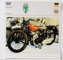 Fiche Technique MOTO Allemagne 1929 DKW 300 Cm3 Luxus - Motos