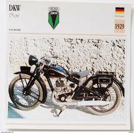 Fiche Technique MOTO Allemagne 1929 DKW 175 Cm3 - Motos