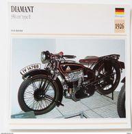 Fiche Technique MOTO Allemagne 1926 Diamant  350 Cm3 Type E - Motos