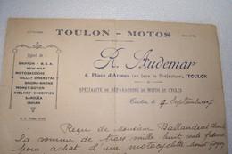 TOULON    -   MOTOS   -  R. AUDEMAR  -6 ,Place D'Armes  -  ( Spécialité De Réparation De Motos Et Cycles ) - 1927 - - Profumeria & Drogheria