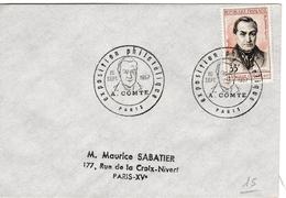 Auguste Comte - Paris 1957 - Cachet GF Expo - FDC