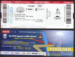 Croatia Zagreb 2018 / Arena / Handball / PPD Zagreb - HBC Nantes, France / Ticket + Ticket Voucher - Match Tickets