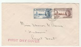 1946 BERMUDA FDC VICTORY Stamps Cover Pmk Hamilton To Paget - Bermuda