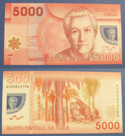 2009 CHILI  5000 PESOS  POLYMER NOTE GABRIELA MISTRAL  OWL  UNC. CONDITION - Chile
