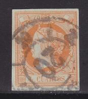 ESPAÑA 1860 - Isabel II Sello Usado 4 Cu. Edifil Nº 52 Rueda De Carreta Nº 20 De Bilbao - 1850-68 Royaume: Isabelle II