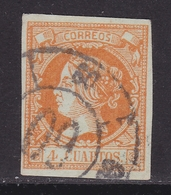 ESPAÑA 1860 - Isabel II Sello Usado 4 Cu. Edifil Nº 52 Rueda De Carreta Nº 60 De Vigo - 1850-68 Royaume: Isabelle II