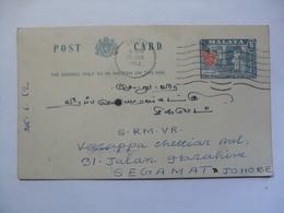 MALAYA - 1962 Pre-paid Postcard Ipoh Perak To Segamat Johore - Federated Malay States