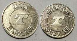 GETTONE TOKEN JETON TRANSIT U.S.A. M.T.A. MARYLAND - Monetary/Of Necessity