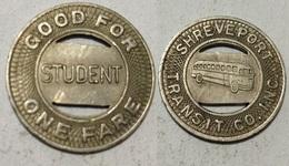 GETTONE TOKEN JETON TRANSIT U.S.A. SHREVEPORT STUDENT - Monétaires/De Nécessité