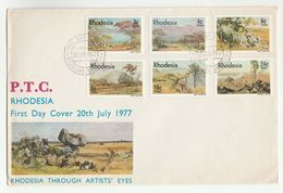 1977 RHODESIA FDC Stamps ART LANDSCAPES Cover Tree Trees Mountain - Rhodesia (1964-1980)