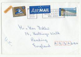 2000 Air Mail AUSTRALIA COVER 80c Byron Bay Stamps LIONS INTERNATIONAL LABEL Lions Club - 2000-09 Elizabeth II