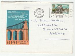 1968 MENAI BRIDGE FDC With MENAI BRIDGE SLOGAN Pmk Anglesey GB To Norway  Cover - FDC